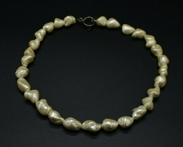 Sterling Silver .925 Stimulated Baroque Pearl Choker Necklace Vintage - $148.49