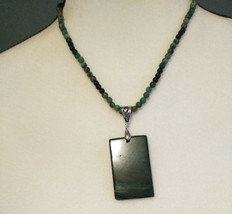 Necklace, Green Jasper Pendant with Obsidian Healing Natural stone - $24.26