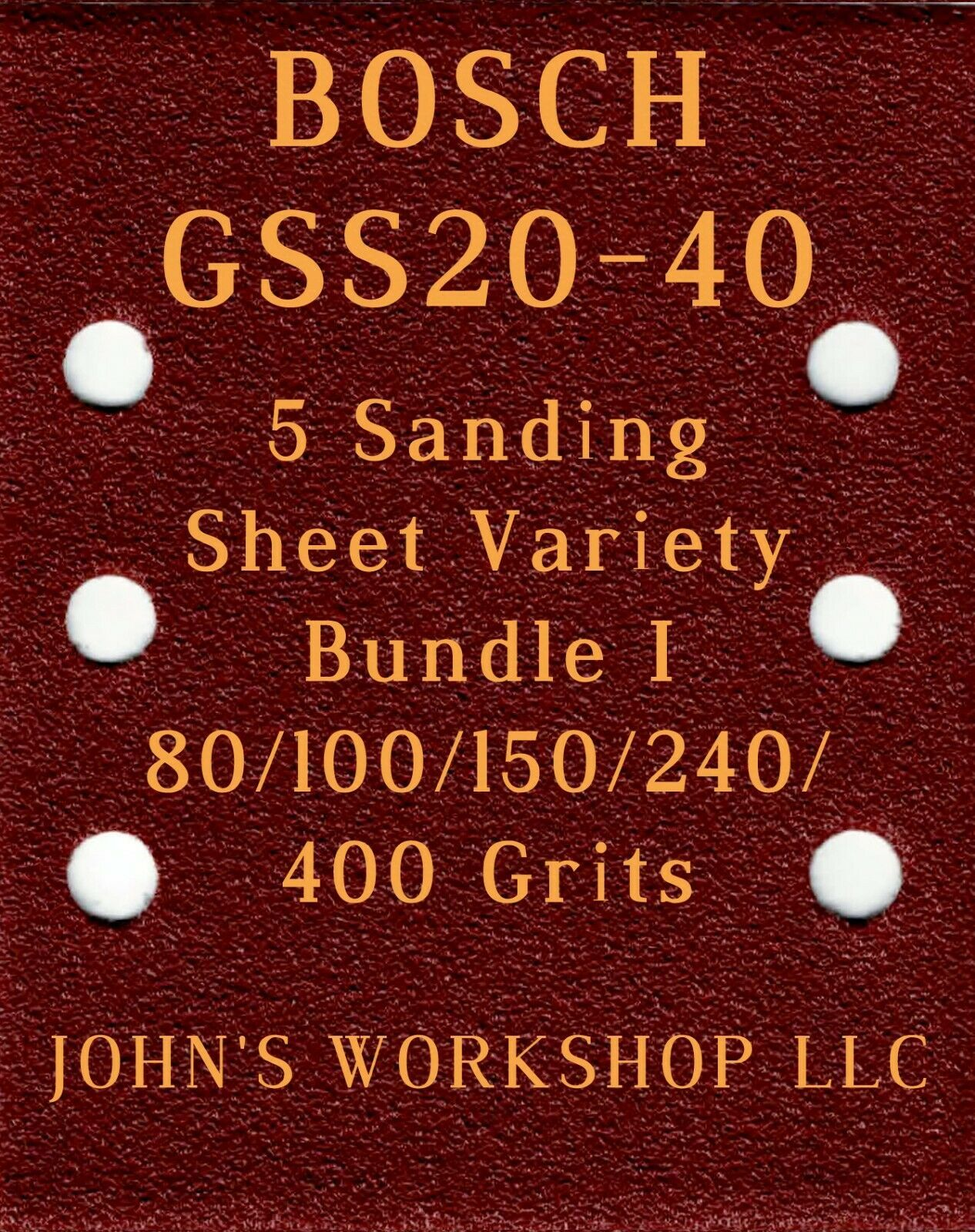 Primary image for BOSCH GSS20-40 - 80/100/150/240/400 Grits - 5 Sandpaper Variety Bundle I
