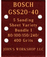 BOSCH GSS20-40 - 80/100/150/240/400 Grits - 5 Sandpaper Variety Bundle I - $7.53