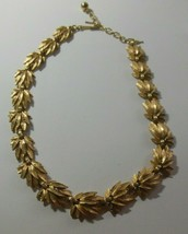 Signed Trifari Brushed Gold-tone Leaf Hinged necklace  - $75.74