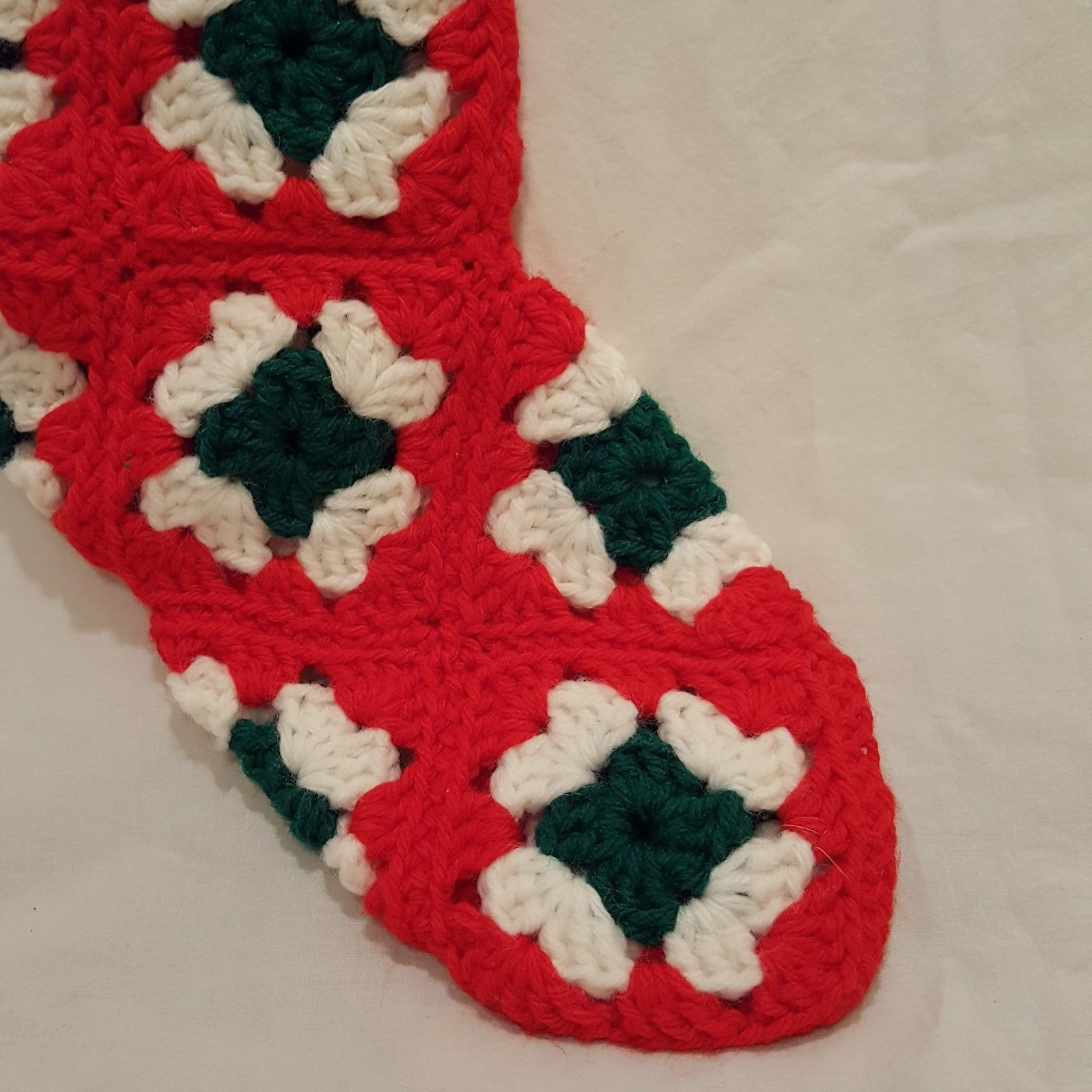 "Vintage Stocking Granny Square Crochet Handmade Red White Green 15"""