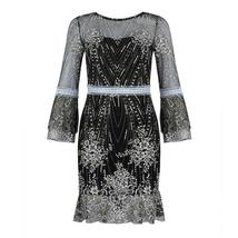 Women's Brand Fashion Lace Sequin  Black Half Sleeve Party Dress image 6