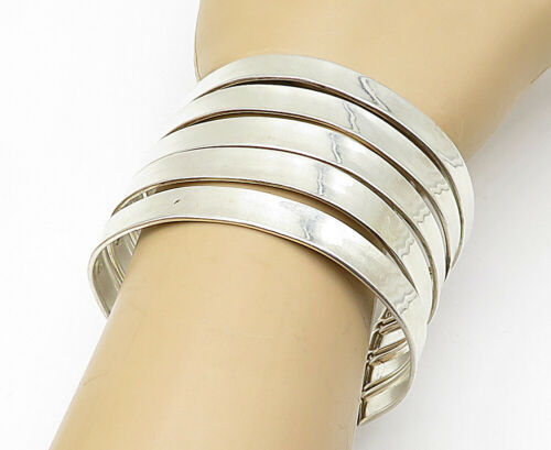 Primary image for 925 Sterling Silver - Vintage Shiny Stacked Design Wide Cuff Bracelet - B5631