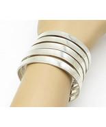 925 Sterling Silver - Vintage Shiny Stacked Design Wide Cuff Bracelet - ... - $172.90