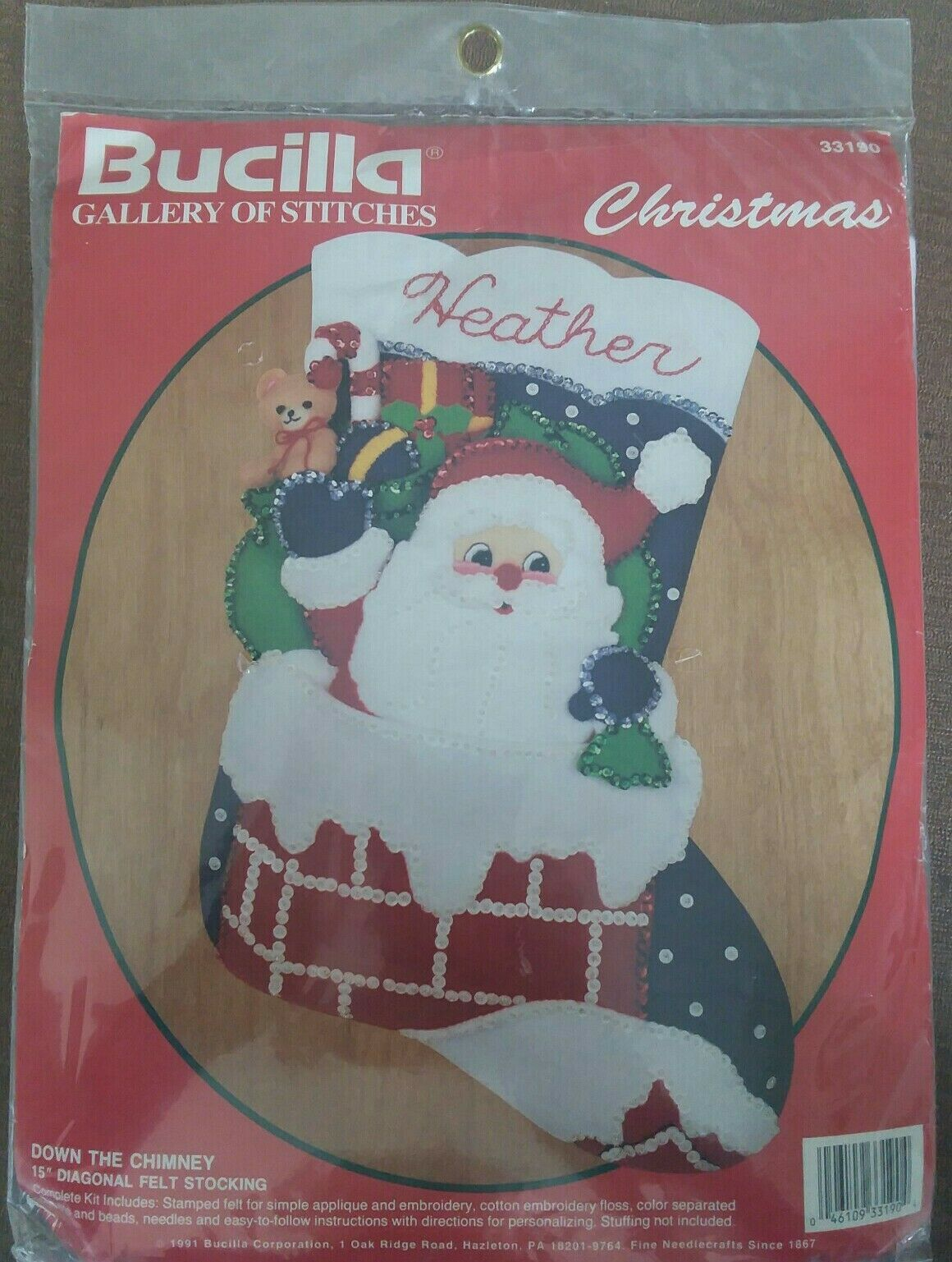 "Primary image for NIP 15"" L Bucilla Santa ""DOWN THE CHIMNEY"" FELT Applique Stocking Kit #33190"