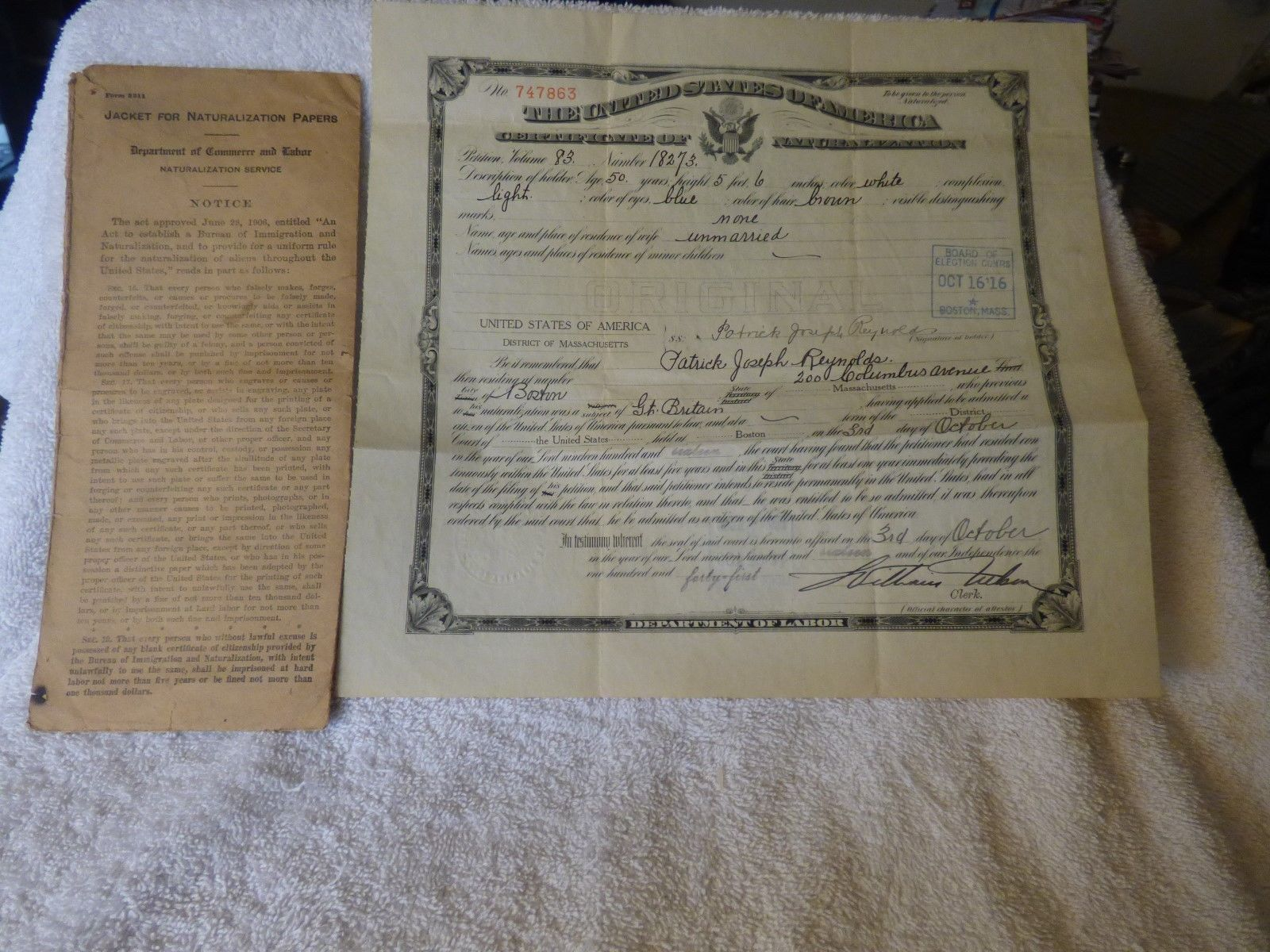 Primary image for 1916 Boston Mass 11pc LOT Naturalization Papers Patrick Reynolds 3 Irish Letters