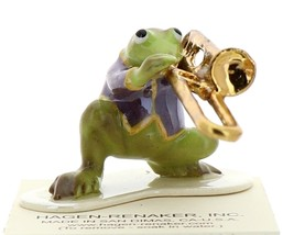 Hagen-Renaker Miniature Ceramic Frog Figurine Toadally Brass Band Trombone
