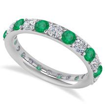 2.00 Ct Round Real Diamond & Emerald 14K Gold Full Eternity Wedding Band... - €596,18 EUR