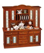 Dollhouse Dining Room Buffet Hutch Roseband Dishes 1.777/0 Reutter Minia... - $133.00