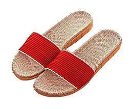 Low Carbon Home Interior Soft Bottom Non-slip Linen Slippers Female - $13.97