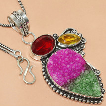 Ruby Emerald Druzy Garnet Fashion Women's Gemstone Silver Jewelry Pendan... - $4.99