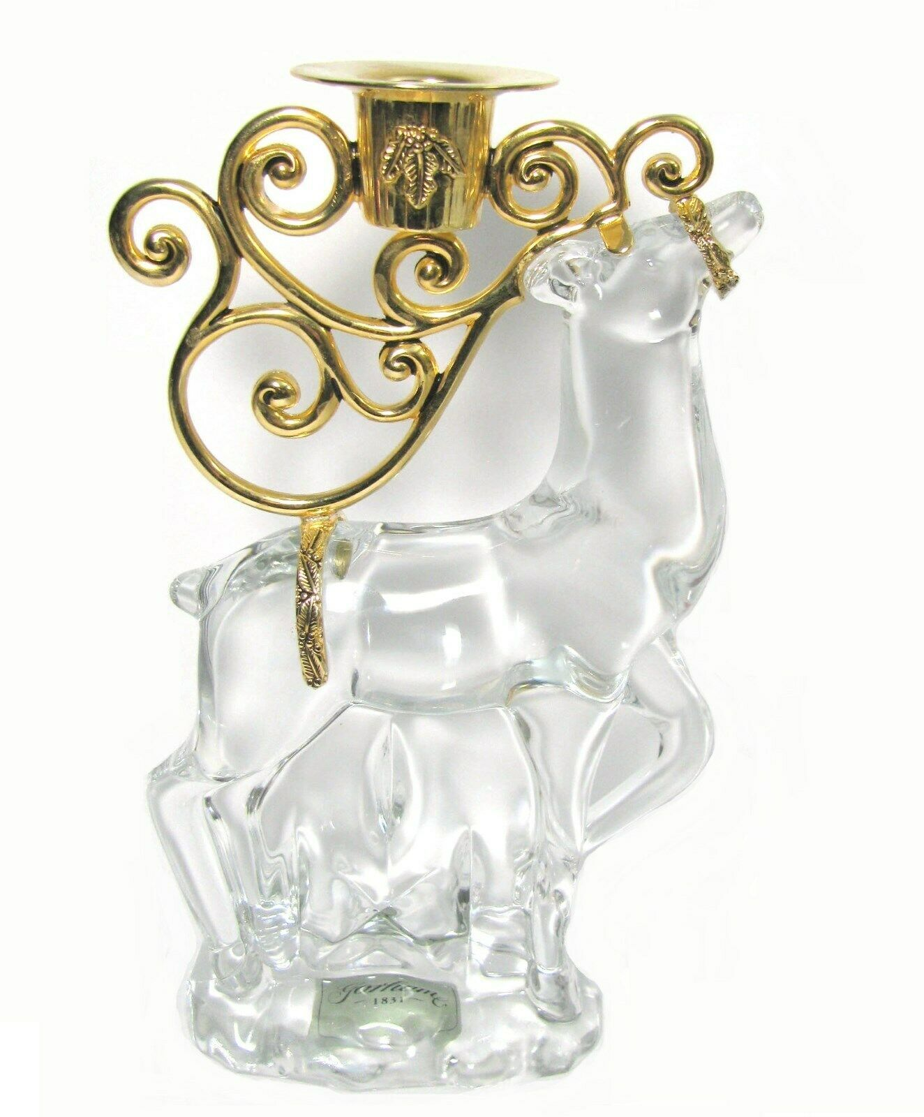 Gorham Crystal Reindeer Candle Holder Gold xmas Centerpiece Figurine Glass Deer  - $40.54