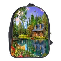 Backpack School Bag Beautiful Lake And Flowers Nature Editions Game Animation Fa - $33.00
