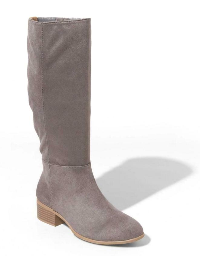 Universal Thread Women's Gray Hilda Microsuede Tall Scrunch Fashion Boots NWT