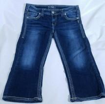 Silver Womens Aiko Capri Jeans Cropped Denim Blue Jeans W32 Stitched Poc... - $27.91