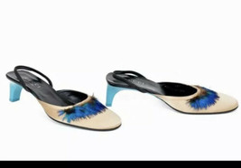 amazing GUCCI 7.5 Heel Shoes Peacock Feathers Gold Turquoise Tom Ford Slingback - $334.65