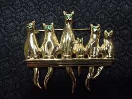 Row of Cats Gold tone Pin Moveable Tails Green Rhinestone Brooch  - $26.72