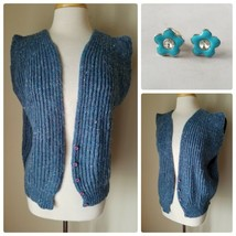 Carreau Women's Vintage Sweater Vest Hand Knit Blue Chunky Cable + Earri... - $20.45
