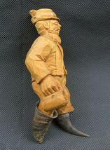 Antique 1900 German Black Forest Carved Wood Figural real Horns Hook Rack image 7