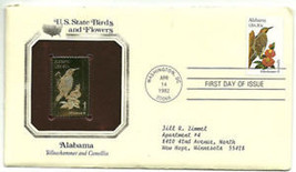 ALABAMA GOLD PLATED REPLICA STAMP WITH FIRST DAY ISSUE STAMP - $5.93