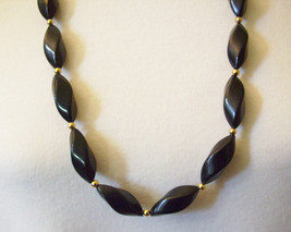 "NAPIER Jet BLACK Oval Twist Beads Strand Necklace Gold Spacers 32"" Vintage - $15.83"