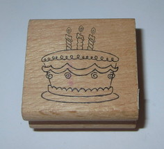 Birthday Cake Rubber Stamp Candles Dessert Celebration Wood Mounted  - $2.96