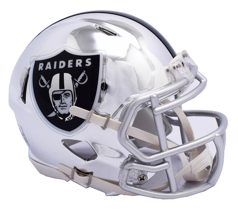 Primary image for Oakland Raiders Helmet Riddell Replica Mini Speed Style Chrome Alternate**Free S
