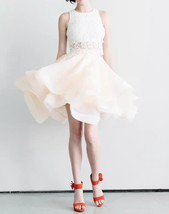 Black Ruffle Midi Tulle Skirt High Waisted Layered Ballerina Skirt Outfit T1878 image 2
