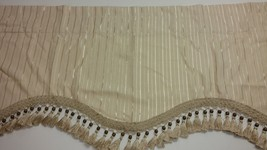 Croscill Home Champaign Warm White Valance Scalloped Tassels Wood Beads ... - $13.87