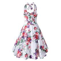 USA SIZE  Vintage Printed Sexy Halter Halter Slim Fit Dress - $40.00
