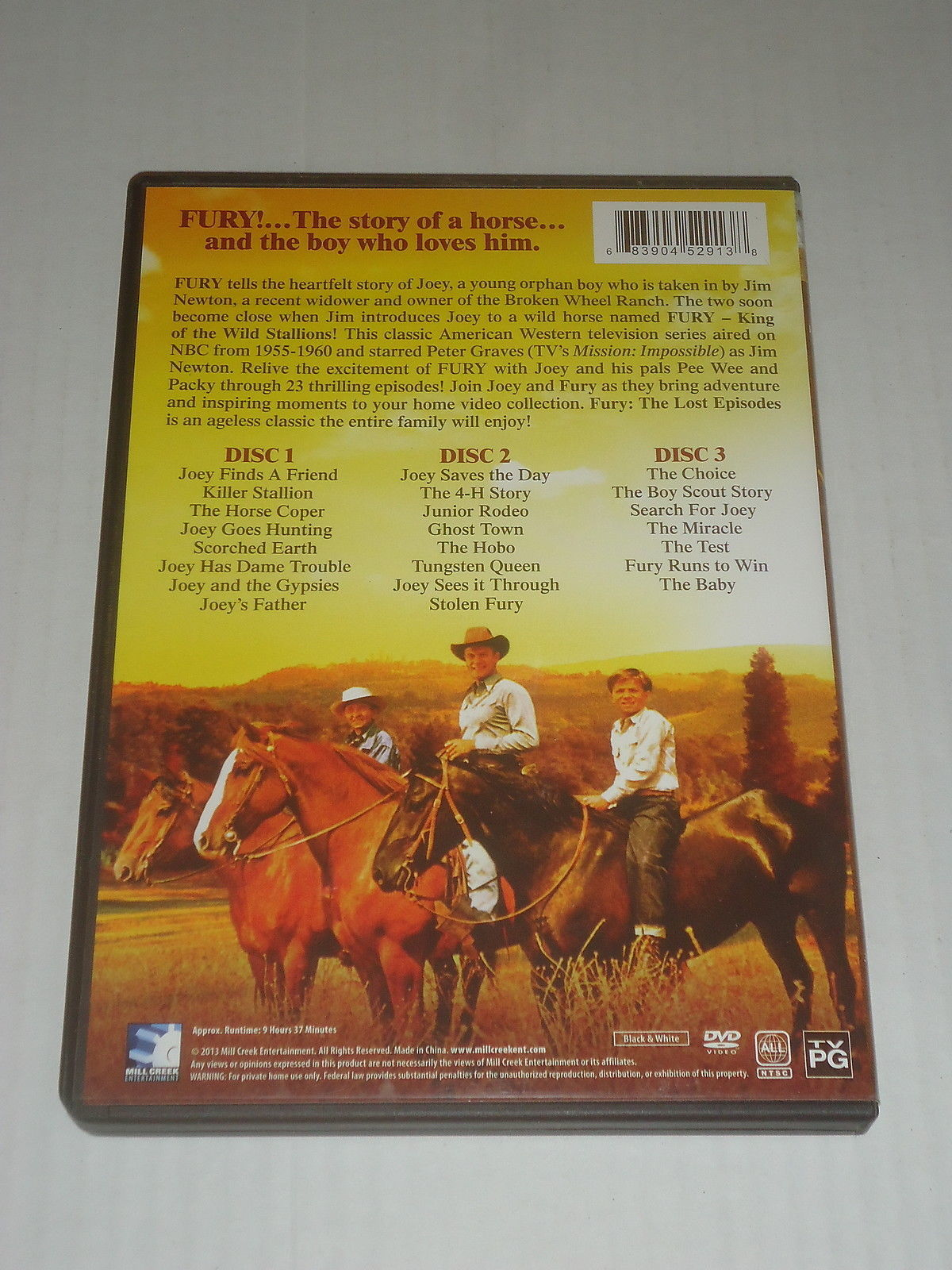 FURY THE LOST EPISODES Peter Graves Bobby Diamond Wiliam Fawcett 3 DVD's