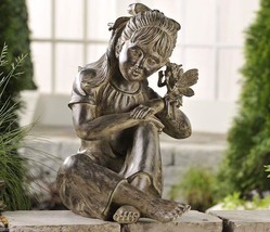 "Large Garden Statue 17.3"" Keeping Secrets Depicts Girl Holding Whispering Fairy"