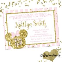 Minnie Mouse Pink Gold Baby Shower invitation Glitter Personalized Sprinkle - £0.70 GBP
