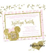 Minnie Mouse Pink Gold Baby Shower invitation Glitter Personalized Sprinkle - $0.99