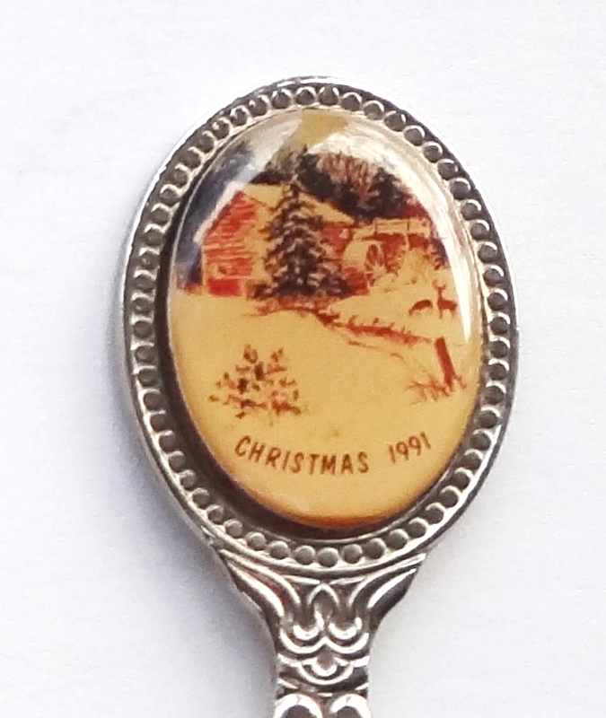 Primary image for Collector Souvenir Spoon Christmas 1991 Snowy Country Cabin Water Wheel