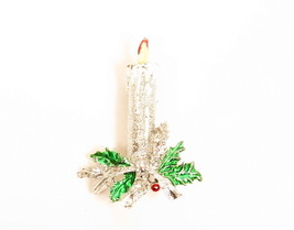 Vintage Signed Gerry's Silver Candle Green Enamel Holly Christmas Brooch... - $17.77