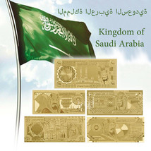 WR 5pcs Saudi Arabia 20-500 Riyals Gold Banknote Set Middle East Note Co... - $12.80