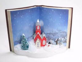 Lighted Book with 3D Church in Holiday Winter Scene Christmas Tabletop Decor - $21.73
