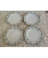 """Set of 4 Sango  Fine China of Japan Bon Aire 7 7/8"""" Green Bread and Butt... - $49.49"""