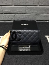AUTHENTIC CHANEL Rue Cambon Black Hot Pink Lambskin Bi-Fold Wallet Clutch Bag