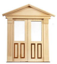 DOLLHOUSE MINIATURE 1:12 SC DOUBLE FRONT DOOR 2-RAISE/1-GLASS PANEL #AM0... - $39.59