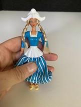 1995 Mattel Barbie Blonde Country Girl Doll Blue Dress toy figurine braids - $8.90