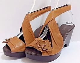 NARA SHOES Brown Leather Sandals Wooden Platform Heels Peep Toe Sling Ba... - $876,97 MXN
