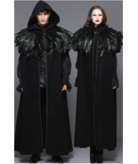 Gothic Witch Warlock Black Long Hooded Cloak Cape w/Feathers Shrug Caple... - €161,58 EUR