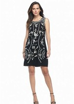 NWT ADRIANNA PAPELL BLACK FLORAL EMBROIDERED SHIFT DRESS SIZE L $120 - $40.17