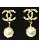 Authentic CHANEL Classic Signature Crystal CC Logo Pearl Drop Earrings Gold  - $429.99