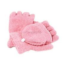 Pink Men Women Fingerless Glove Winter Warm Half Finger Flip Knitted Mitten - $226,08 MXN