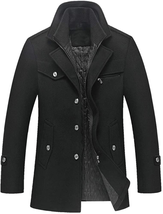 Lavnis Men's Winter Wool Coats Slim Fit Single Breasted Trench Jacket Wo... - $88.89