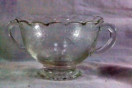 Hazel Atlas 1932 Florentine #1 Clear Glass Open Sugar Bowl - $15.93
